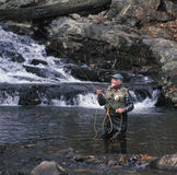 Senior man fly fishing Stock Photos