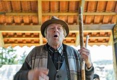 Folk musician plays music. Yablunytsia, resort Bukovel, Ukraine. royalty free stock image