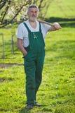 Senior man gardening in his garden Stock Images