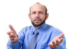 Senior man gesticulating. Focused on the face Royalty Free Stock Photos