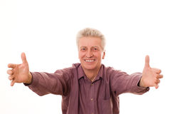 Senior  man gesturing a thumbs up Stock Photography