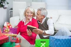 Senior Man Giving Christmas Gift To Woman Royalty Free Stock Images