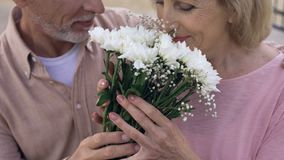 Senior man giving flowers bunch to aged woman, happy retired couple, anniversary. Stock footage stock footage