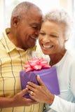 Senior man giving gift to wife Stock Photos