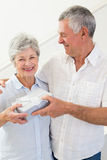 Senior man giving his happy partner a gift Stock Images