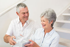Senior man giving his happy partner a gift Royalty Free Stock Photography