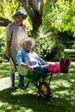 Senior man giving woman ride in wheelbarrow Stock Photography