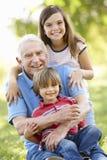 Senior man and grandchildren in park Royalty Free Stock Images