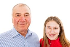 Senior man and granddaughter. Portrait photo of senior men and granddaughter Stock Images