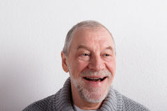 Senior man in gray woolen sweater, studio shot. Royalty Free Stock Image