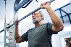 Senior man in gym doing pull-ups on horizontal bar. Fit senior man in sports clothing in gym working out, doing pull-ups on horizontal bar Royalty Free Stock Photography