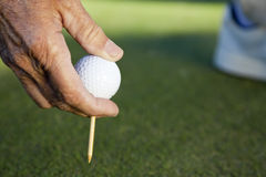 Senior Man Hand Golf Ball & Tee Stock Photography