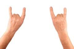 Senior man hands show goat. Rock gesture, isolatet Stock Image