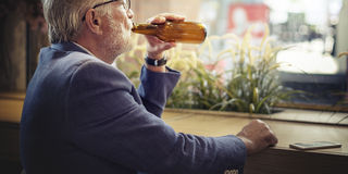 Senior Man Hangout Drinking Alcohol Night Club Concept Stock Photos