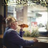 Senior Man Hangout Drinking Alcohol Night Club Concept Stock Image