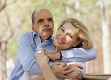 Senior man and happy mature woman Royalty Free Stock Photo