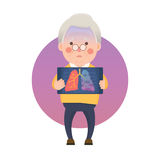 Senior Man have Lung Cancer Ribbon Royalty Free Stock Image