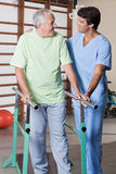 Senior Man having ambulatory therapy Stock Images