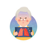 Senior Man Having Inflammation Lung. Vector Illustration of Old Man Holding X-ray Image Showing Inflammation Lung Problem, Cartoon Character royalty free illustration