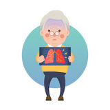 Senior Man Having Inflammation Lung Royalty Free Stock Photography