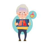 Senior Man Having Pneumonia Stock Photo