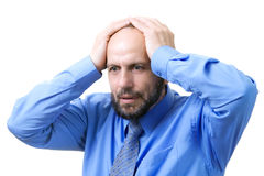 Senior man having problems. Oh no, troubles Royalty Free Stock Photography