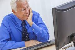 Senior Man Having Trouble Using Computer. A senior man male sitting at a desk wearing a shirt & tie having trouble or problems using a computer royalty free stock image