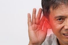 Senior man hearing loss , Hard of hearing. On white background Stock Images