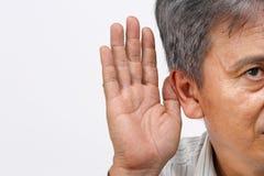 Senior man hearing loss , Hard of hearing. Isolate on white stock photos