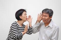 Senior man hearing loss , Hard of hearing. Senior men hearing loss , Hard of hearing on white background stock photos