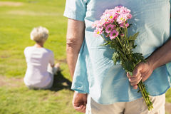 Senior man hiding flowers behind his back Stock Photography