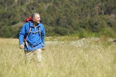 Senior Man On Hike Through Beautiful Countryside Stock Photography