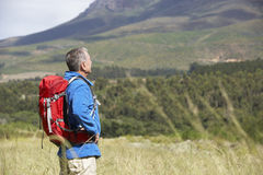 Senior Man On Hike Through Beautiful Countryside Stock Images