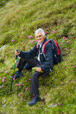 Senior man hiker resting Royalty Free Stock Images