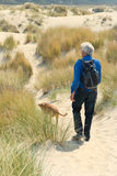 Senior man hiking with dog Royalty Free Stock Image