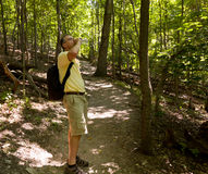 Senior man hiking in forest with backpack Stock Photos