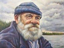 Senior man with his cap. Oil portrait of senior man with his cap Stock Photo
