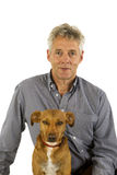 Senior man with his dog Stock Images