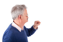 Senior man and his hearing aid Royalty Free Stock Photo
