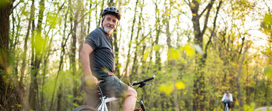 Senior man on his mountain bike Stock Photo