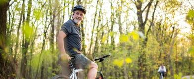 Senior man on his mountain bike Stock Photo