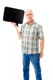 Senior man holding a blank speech bubble Royalty Free Stock Images