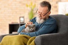 Senior man holding cute cat. At home stock photo
