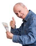Senior man holding dollar bills Stock Image