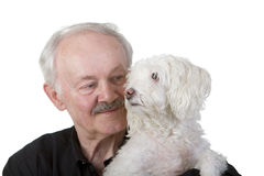 Senior man holding his dog Stock Images