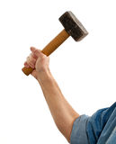 Senior man holding a large hammer Stock Images