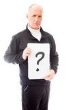 Senior man holding question mark sign Stock Photos
