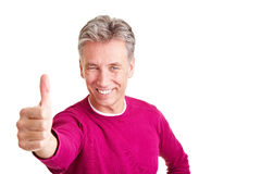 Senior man holding thumbs up Royalty Free Stock Image