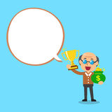 Senior man holding trophy and money bag with white speech bubble Royalty Free Stock Photography