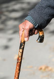 Senior man holding a wooden walking  stick Stock Image